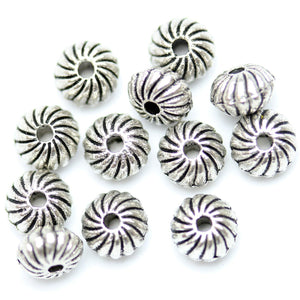 Antique Silver Plated Spiral Design Bicone Rondell Beads 5√ó6mm Beads by Halcraft Collection