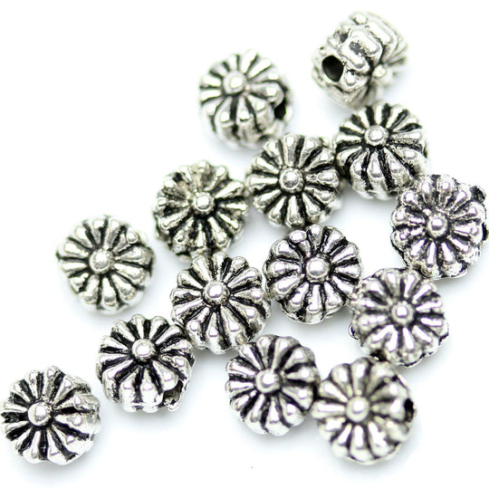 Antique Silver Plated Chrysanthemum Beads 5mm