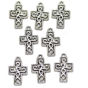 Abalorios de cruz de 12x16 mm chapados en plata antigua de Halcraft Collection