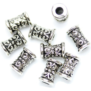 Antique Silver Plated Celtic Design Tube Beads 5√ó8mm Beads by Halcraft Collection