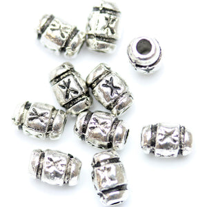 Antique Silver Plated Marked Bullet Beads 5�����8mm