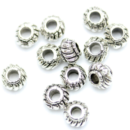 Antique Silver Plated Fluted Rice Beads 4�����6mm
