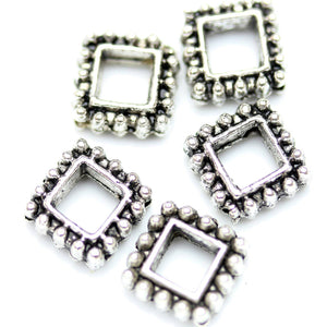 Antique Silver Plated Bali-Style Square Rondell Beads 8mm