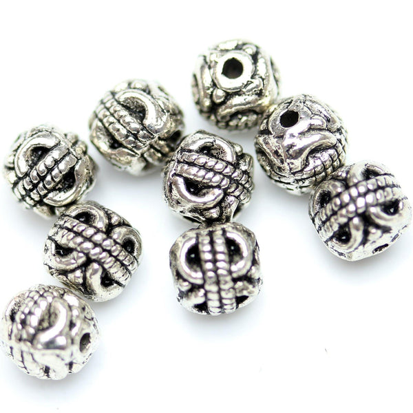 Antique Silver Plated Bali-Style Filigree Round Beads 6mm