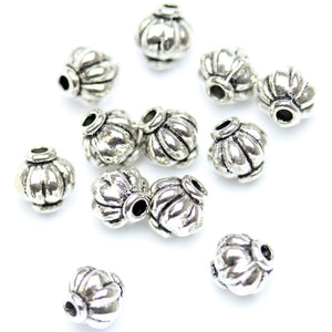 Antique Silver Plated Melon Beads 6�����6mm