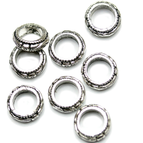 Antique Silver Plated Floral Pattern Rings 11mm