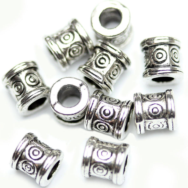 Antique Silver Plated Bali-Style Cylindar Beads 6mm