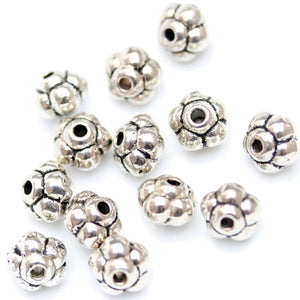 Antique Silver Plated Bali-Style Rondell Beads 6×5mm