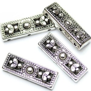 Antique Silver Plated 3-Hole Spacer Bead Foral Design 9√ó26mm Beads by Halcraft Collection