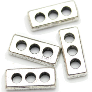 Antique Silver Plated 3-Hole Spacer Bead Rectangle 7�����16mm