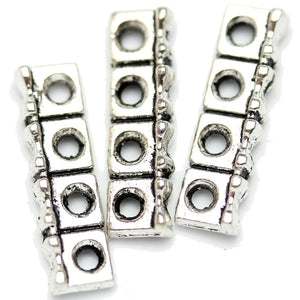 Antique Silver Plated 4-Hole Spacer With Circle Design Beads 6�����22mm