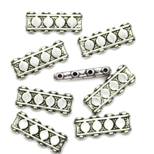 Antique Silver Plated 4-Hole Spacer With Diamond Design Beads 7x18mmBeads by Halcraft Collection