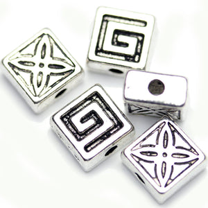 Antique Silver Plated Rectangle(with Celtic Designs)Beads 7√ó10mm Beads by Halcraft Collection