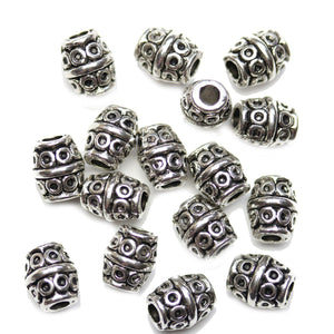 Antique Silver Plated Rice with Circle Beads 7x8mmBeads by Halcraft Collection