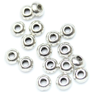 Antique Silver Plated Rondell Beads 5×2mm