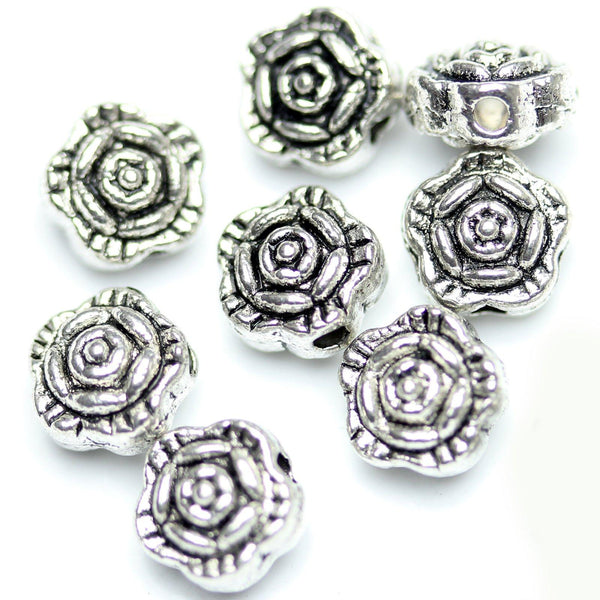 Antique Silver Plated Rose Floral Beads 6mm