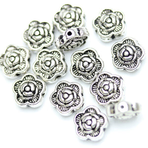 Antique Silver Plated Rose Floral Beads 7mm