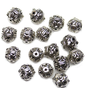 Antique Silver Plated Bali-Style Fancy Round Beads 7mmBeads by Halcraft Collection