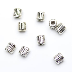 Antique Silver Plated Cylindar Striated Beads 3√ó4mm Beads by Halcraft Collection