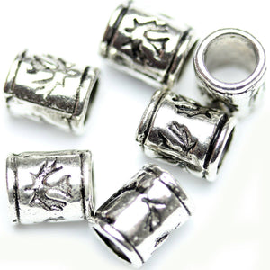 Antique Silver Plated Cylindar Phoenix Design Beads 5√ó9mm Beads by Halcraft Collection