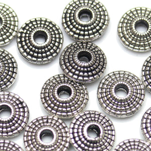 Antique Silver Plated Bali-Style Fine Detail Saucer Beads 4×9mm