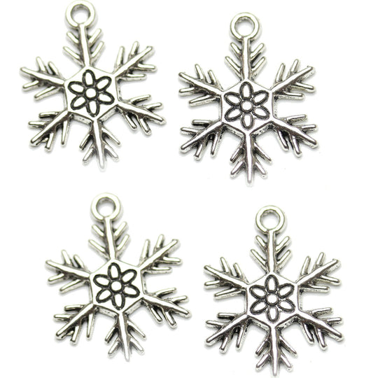 Antique Silver Plated Snowflake Charm 20x24mm Charm by Bead Gallery