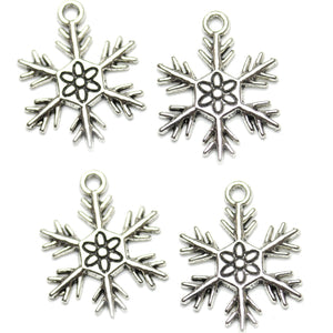 Antique Silver Plated Snowflake Charm 20x24mm