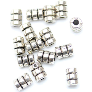 Antique Silver Plated Spiral Pipe Beads 4√ó6mm Beads by Halcraft Collection