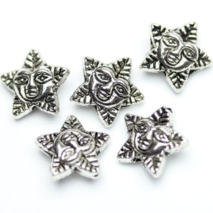 Antique Silver Plated Tree Inspired Star Beads 11mm