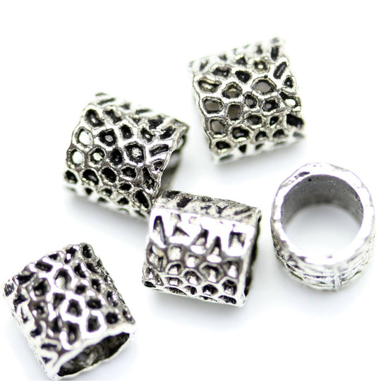 Antique Silver Plated Large Hole Abstract Beads 9�����7mm
