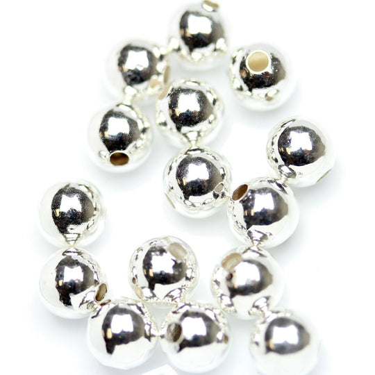 Silver Plated Smooth Round BeadsBeads by Halcraft Collection