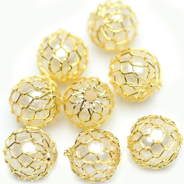 Gold Tone Plated Mesh Over White Pearl Beads 8mm