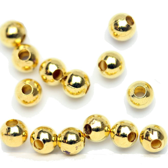 Gold Tone Plated Smooth Round Beads 4mm