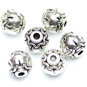 Antique Silver Plated Stylized Round Beads 8mm