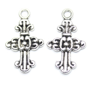 Antique Silver Plated Cross Charm/Pendant 15�����24mm