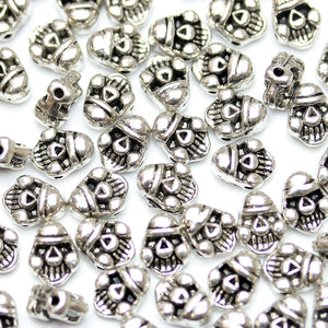 Antique Silver Plated Stempunk Skull Beads 9mm