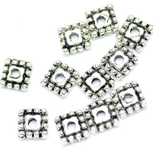 Antique Silver Plated Square Bali-Style Beads 5�����5mm