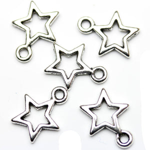 Antique Silver Plated Open Star Charms 10�����12mm