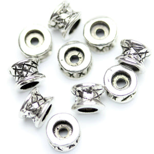 Antique Silver Plated Tube Beads 5�����6mm
