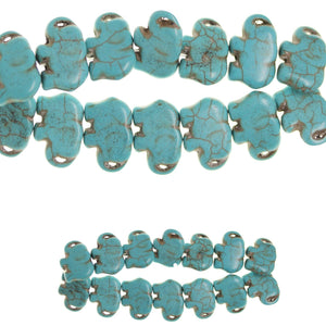 Turquoise Dyed Reconstituted Stone Molded Beads 16x21mm ElephantBeads by Halcraft Collection