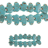 Turquoise Dyed Reconstituted Stone Molded 16x21mm Elephant
