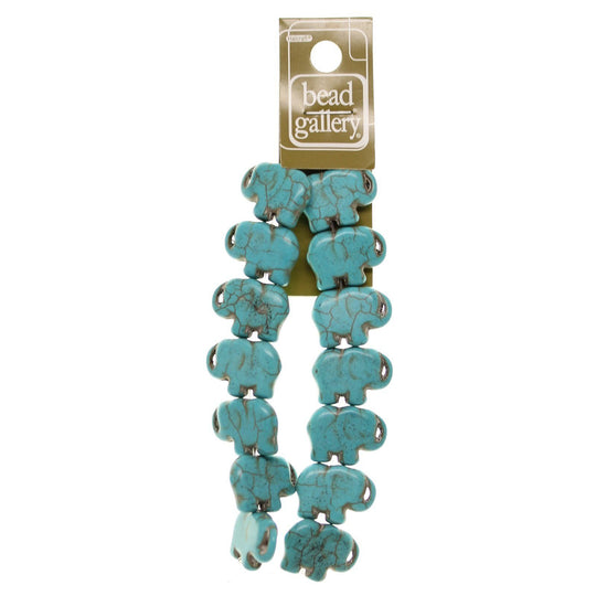 Turquoise Dyed Reconstituted Stone Molded 16x21mm  ElephantBeads by Halcraft Collection