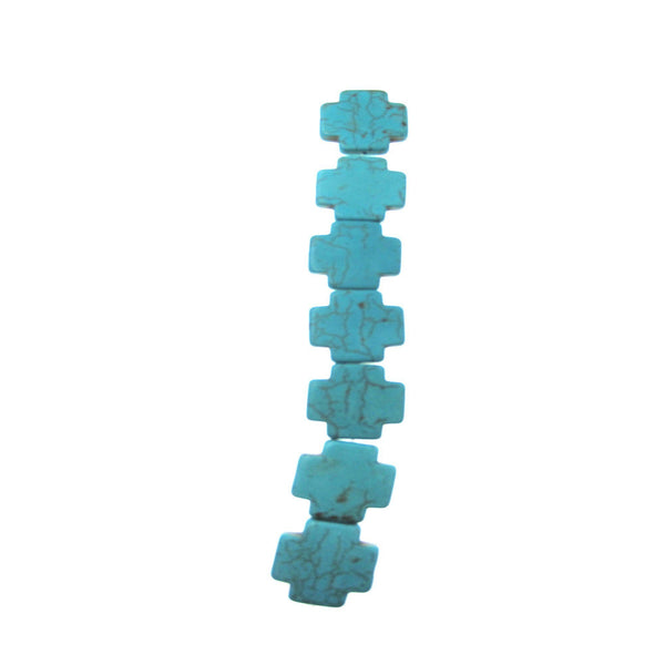 Turquoise Dyed Reconstituted Stone 25mm Cross