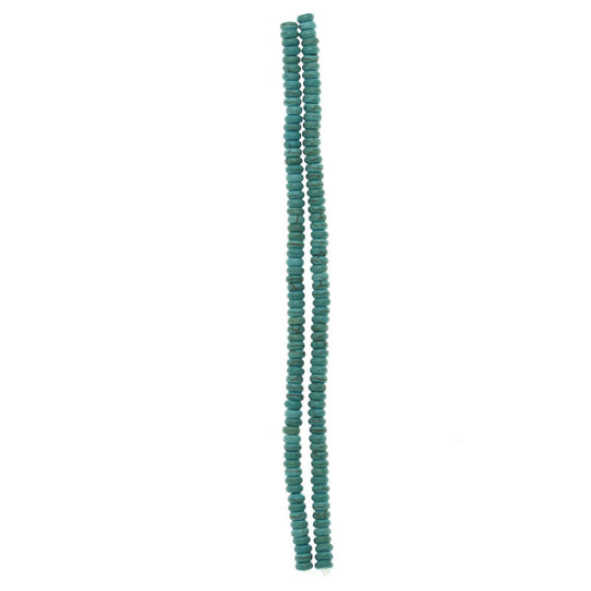 Turquoise Dyed Reconstituted Stone Small RondellBeads by Halcraft Collection
