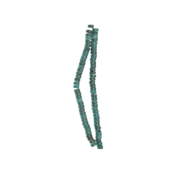 Turquoise Dyed Reconstitnuted Stone 2√ó4mm  RondellBeads by Halcraft Collection