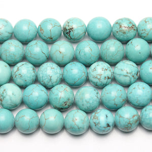 Turquoise Dyed Howlite 12mm  Stone Round