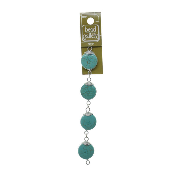 Turquoise Dyed Reconstituted Stone And Metal Links 22mm