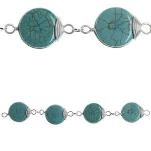 Turquoise Dyed Reconstituted Stone & Metal Links 22mmBeads by Halcraft Collection