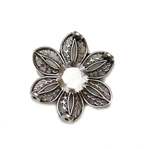 2-Hole Slider With Glass Crystal Silver Plated Flower 33mmSlider by Bead Gallery