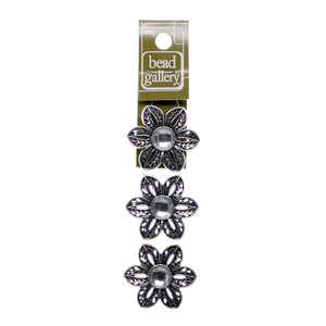 2-Hole Slider With Glass Crystal Silver Plated Flower 33mm